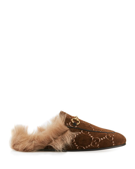 Gucci Flat Princetown Velvet GG Mule With Fur