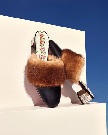 35mm Candy Leather Mule With Fur Trim