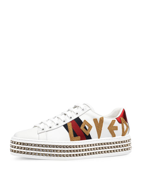 Gucci Ace Loved Embellished Trainer