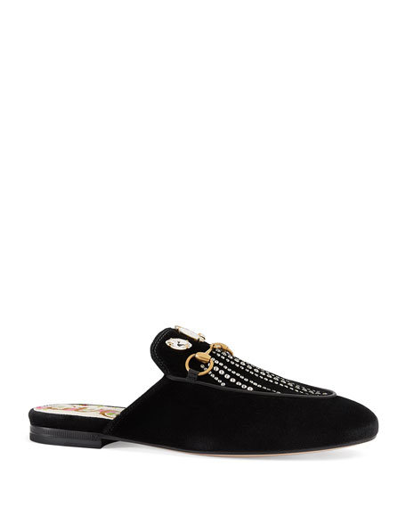 Gucci Flat Princetown Velvet Mule With Crystals