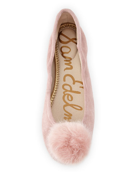 Farina Suede Pompom Ballet Flat