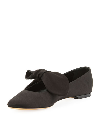 Elodie Knotted Satin Slip-On Flat