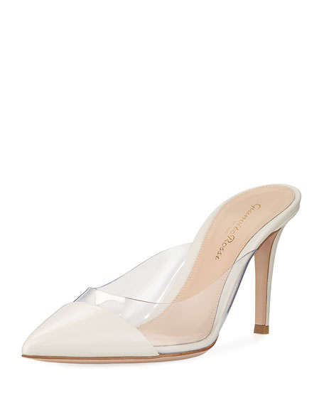Gianvito Rossi Plexi Leather Illusion 85mm Mule