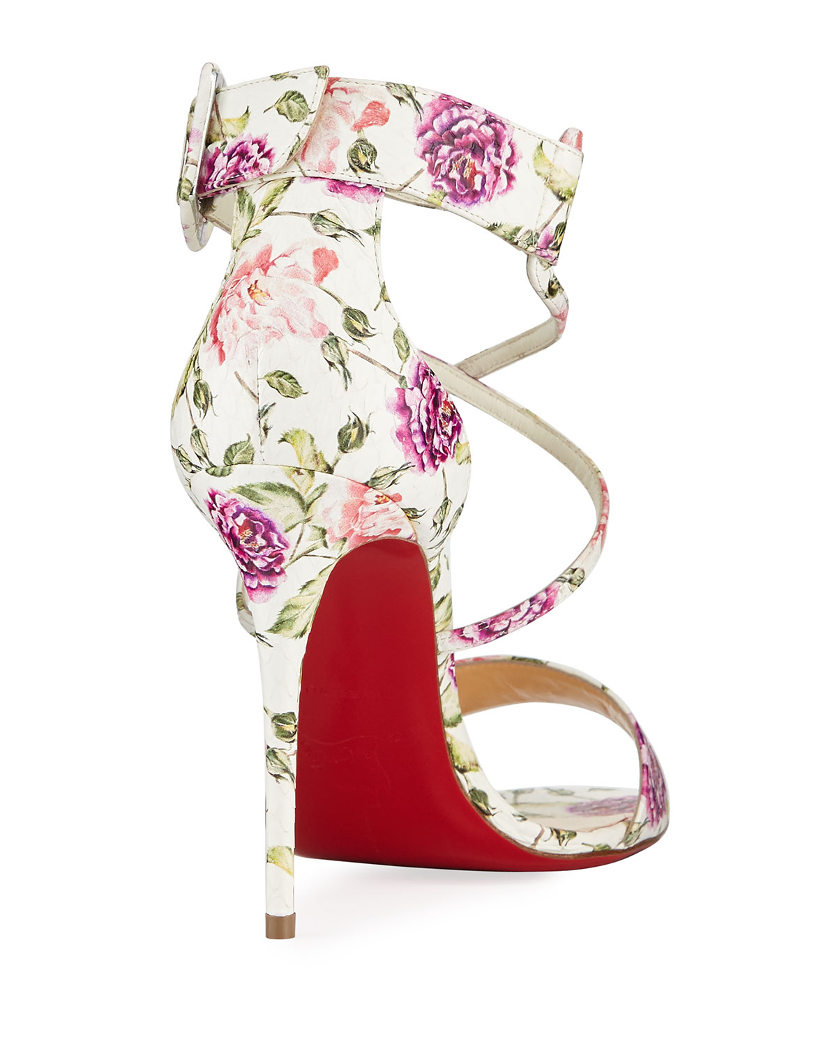 2df0fa1458 Christian Louboutin Choca Floral Snake Red Sole Sandal | Neiman Marcus
