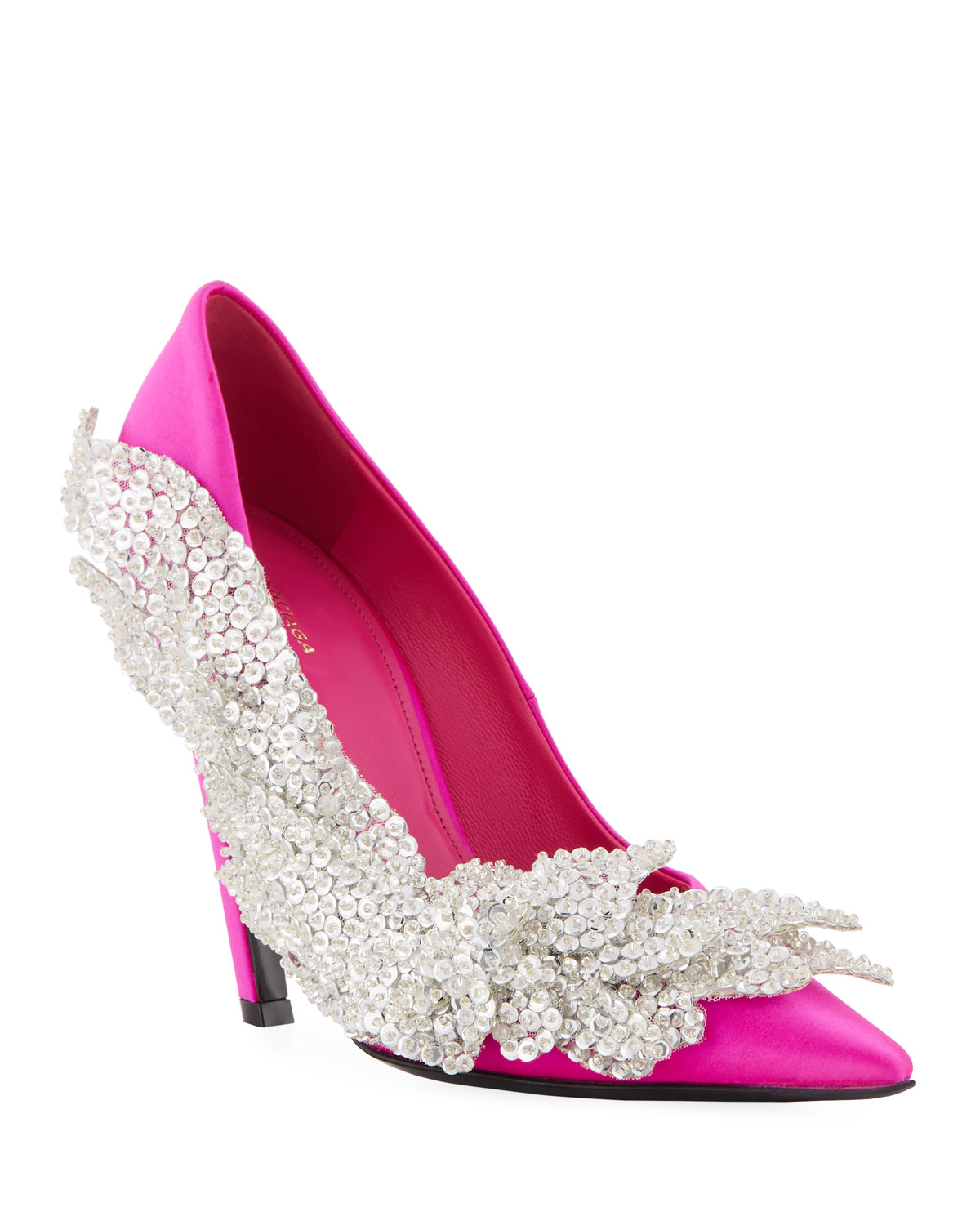 57472730efeb Balenciaga Crystal-Embellished Satin Pumps