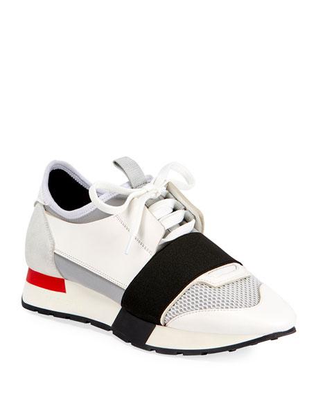 Mixed Media Trainer Sneaker, Gray/Black