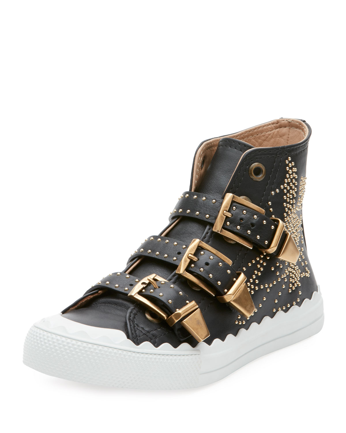 Chloe Kyle Studded High Top Leather Sneakers Neiman Marcus