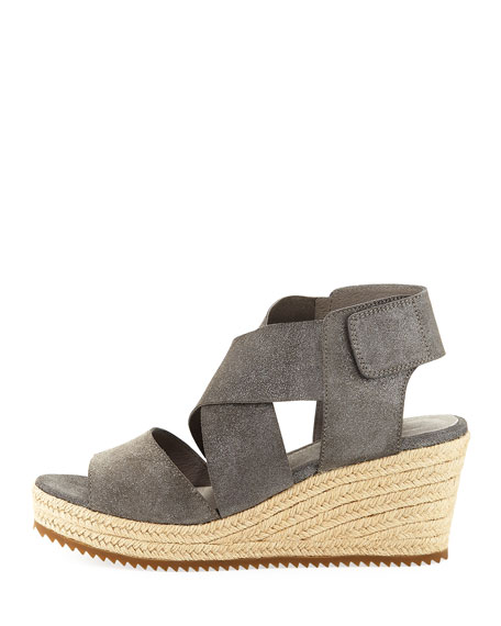 Image 3 of 4: Eileen Fisher Willow Starry Suede Wedge Espadrille Sandals