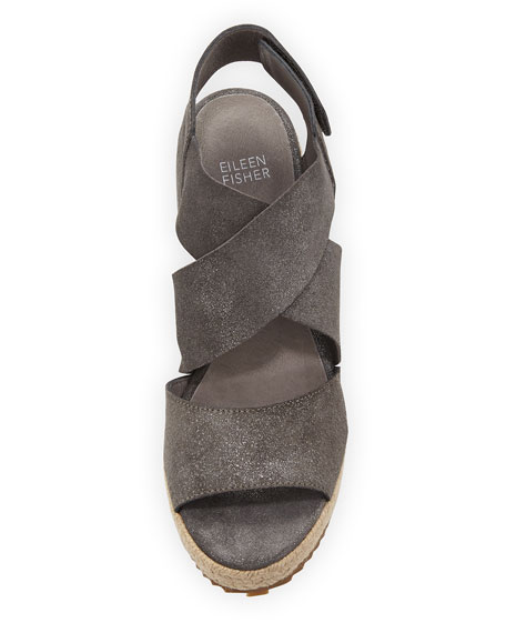 Image 4 of 4: Eileen Fisher Willow Starry Suede Wedge Espadrille Sandals