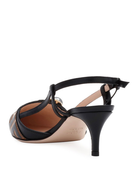 Fendi Pearland Leather Slingback Pumps