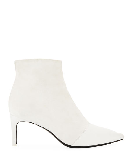 Beha Mixed Leather & Suede Zip Boots, White