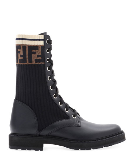 fendi-leather-combat-boot-with-ff-cuff by fendi