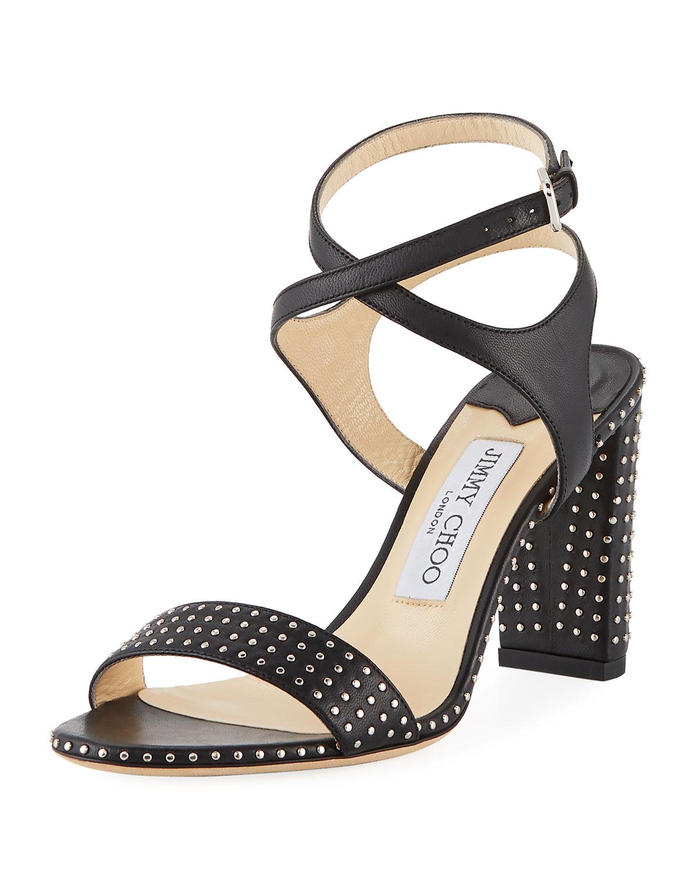 8aab656aeaa Jimmy Choo Marine Studded Leather Block-Heel Ankle-Strap Sandals ...