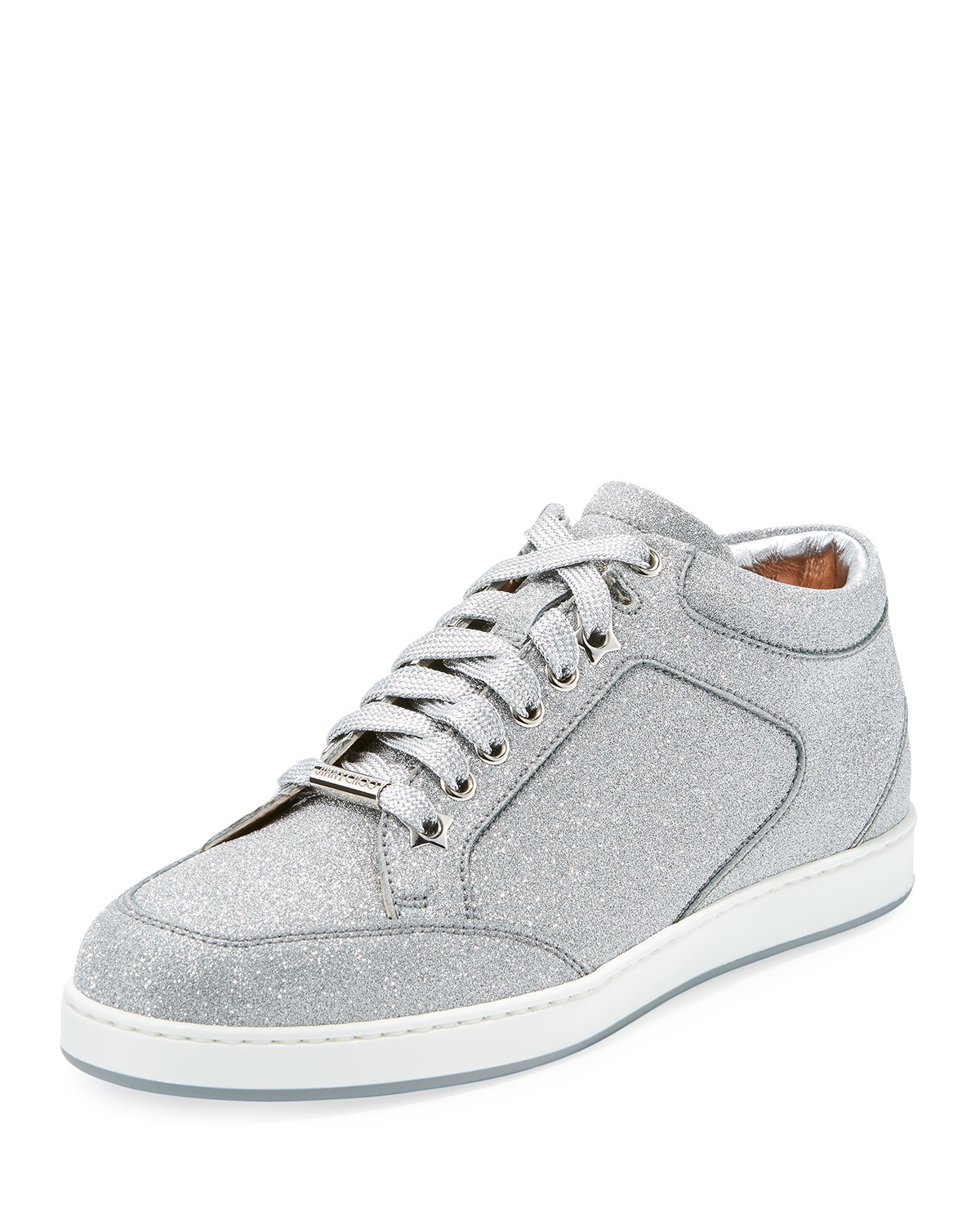 059584680a4b Jimmy Choo Miami Glitter Leather Low-Top Sneakers | Neiman Marcus