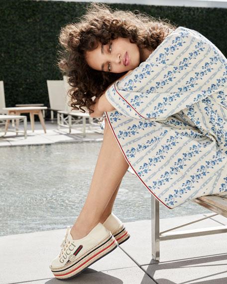Lilibeth Gucci Printed Fabric Flatform Espadrille