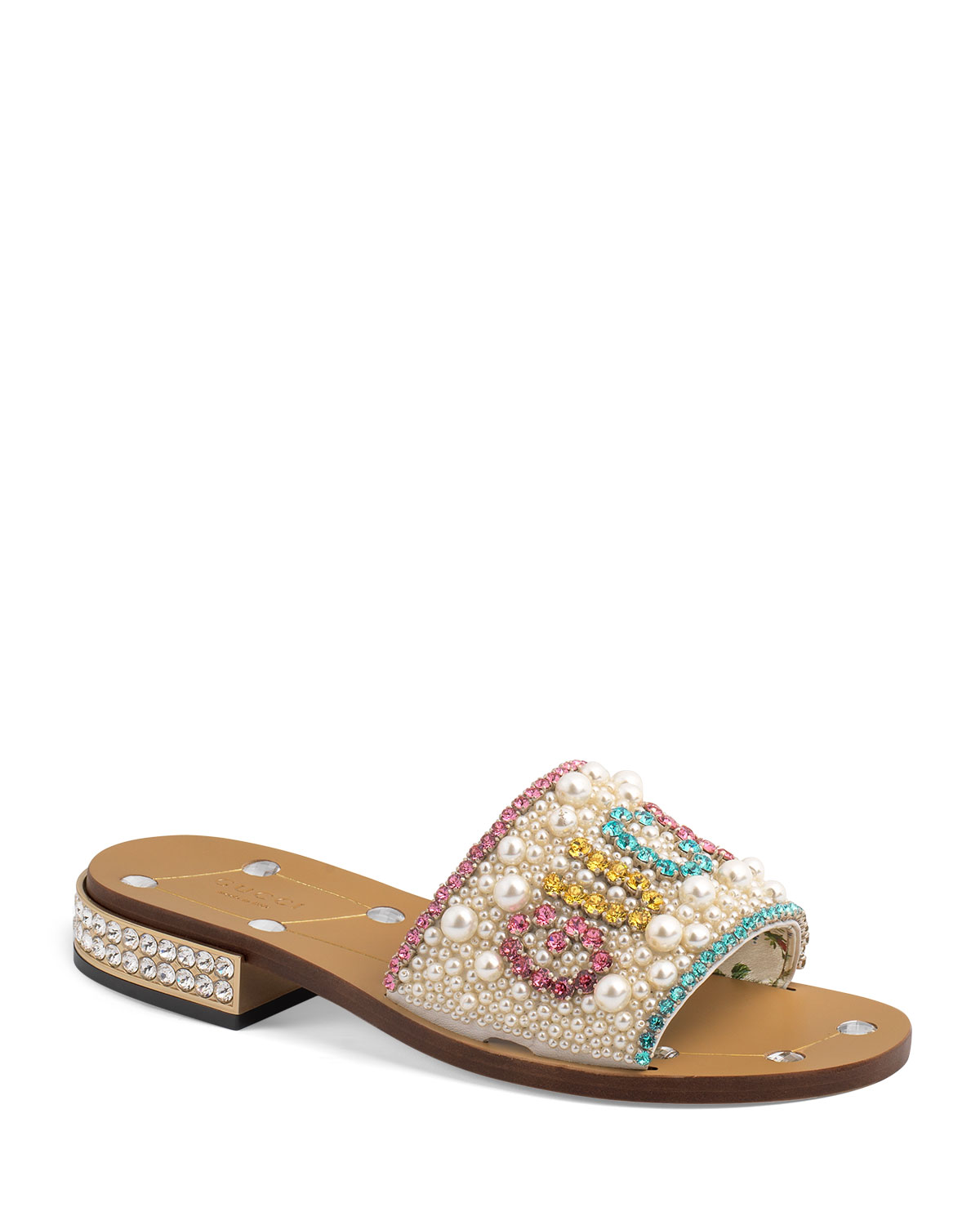 b52607b88 Gucci Lupe 20mm Guccy Jeweled Leather Slide | Neiman Marcus