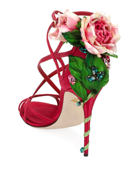 Image 3 of 3: Jeweled Satin Sandal with Rose Heel