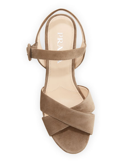 Suede Crisscross Ankle-Wrap 65mm Sandals