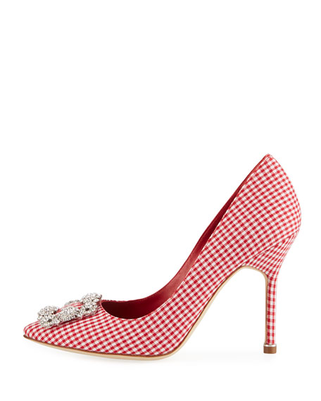 Hangisi Crystal-Buckle Gingham 105mm Pumps