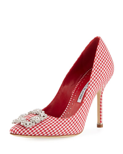 Hangisi Crystal-Buckle Gingham 105mm Pump