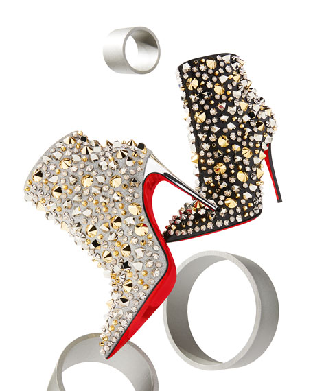 So Full Kate Studded Metallic Leather Red Sole Booties