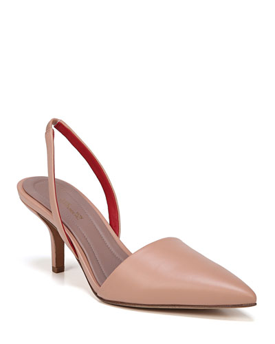 Mortelle Slingback Leather Pumps  Beige