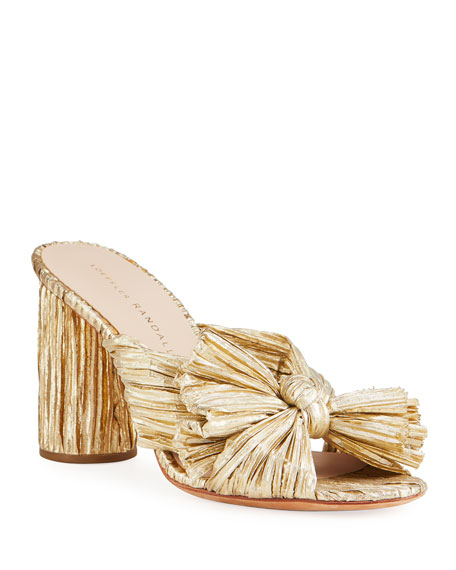 Penny Pleated Metallic Slide Sandals