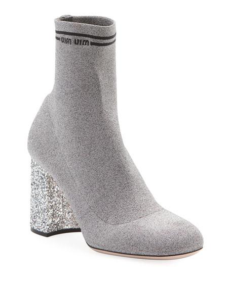 Miu Miu Glitter-Heel Metallic Sock Knit Bootie