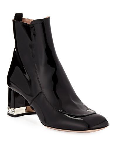 Patent Leather Block-Heel Ankle Boots