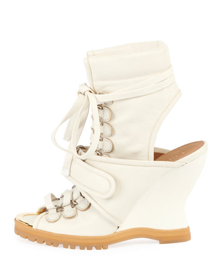 Lace-Up Wedge Bootie Sandal
