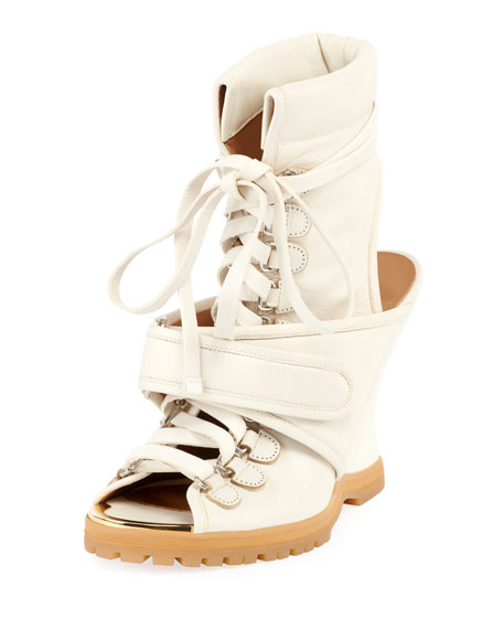 Chloe Lace-Up Wedge Bootie Sandal