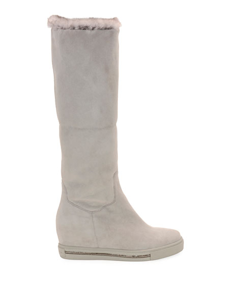 Rene Caovilla Skiara Suede Wedge Knee Boots with Fur Lining