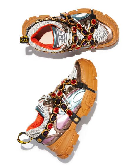 Gucci Flashtrek Metallic Leather Hiker Sneaker With Chain Strap