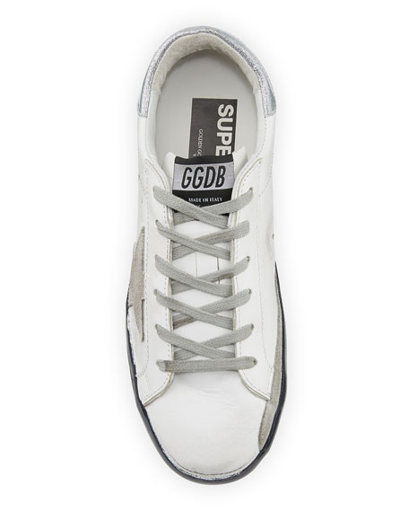 """Golden Goose Superstar """"Love Me For"""" Leather Low-Top Sneakers with Suede Star"""