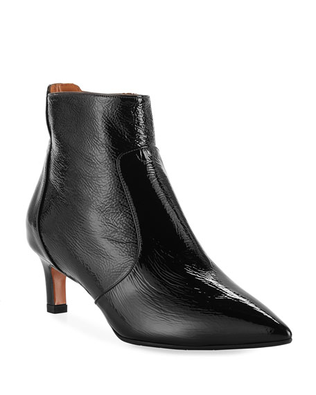 Aquatalia Marilisa Water-Resistant Shiny Leather Booties