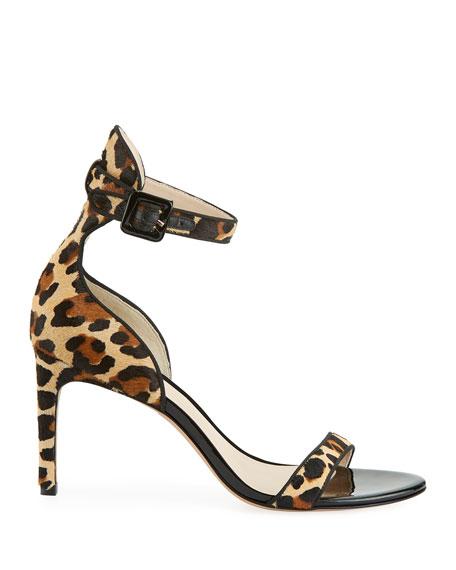 Sophia Webster Nicole Leopard-Print Hairhide Mid-Heel Sandals