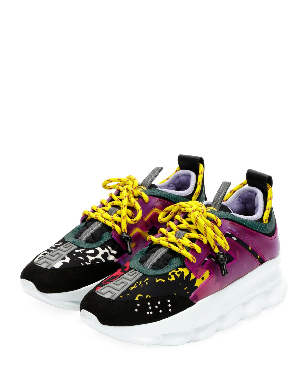 Versace Colorblock Chain Reaction Sneakers Neiman Marcus