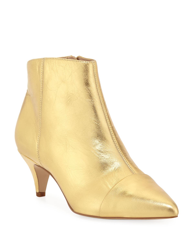 fe3346054cb Kinzey Metallic Leather Kitten-Heel Booties