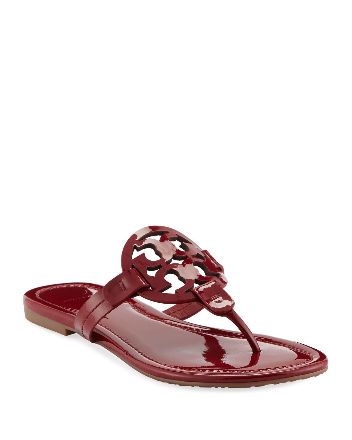 784e95356 Tory Burch Miller Medallion Patent Leather Flat Thong Sandals ...