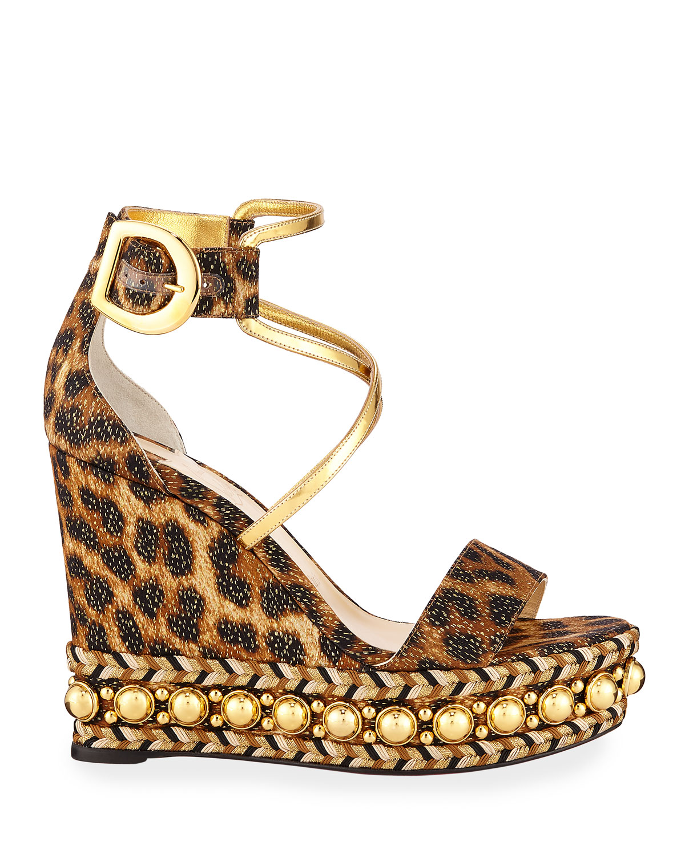 cc80f9dd749 Chocazeppa Leopard Wedge Red Sole Espadrille Sandals