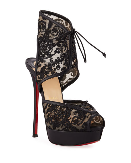 Christian Louboutin Jose Altafine Lace Red Sole Sandals