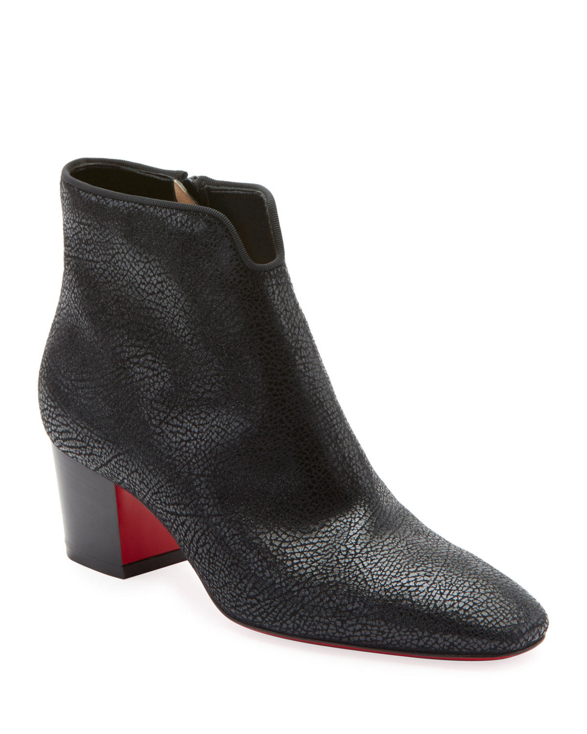 4707403366a1 Christian Louboutin Disco 70s Low-Heel Wet-Look Suede Red Sole Booties