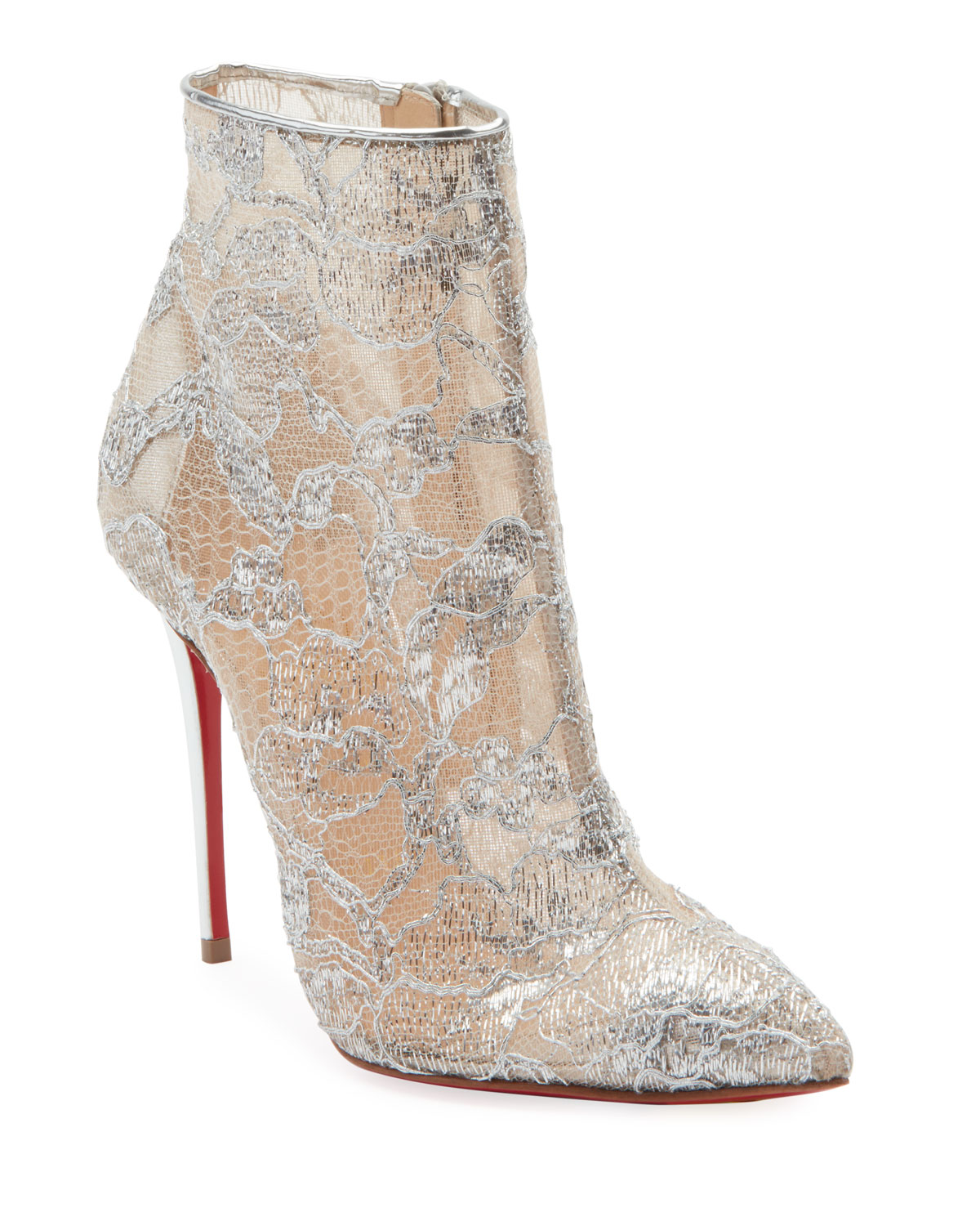 3db2d7c53c28 Christian Louboutin Gipsybootie Metallic Lace Red Sole Ankle Boot ...