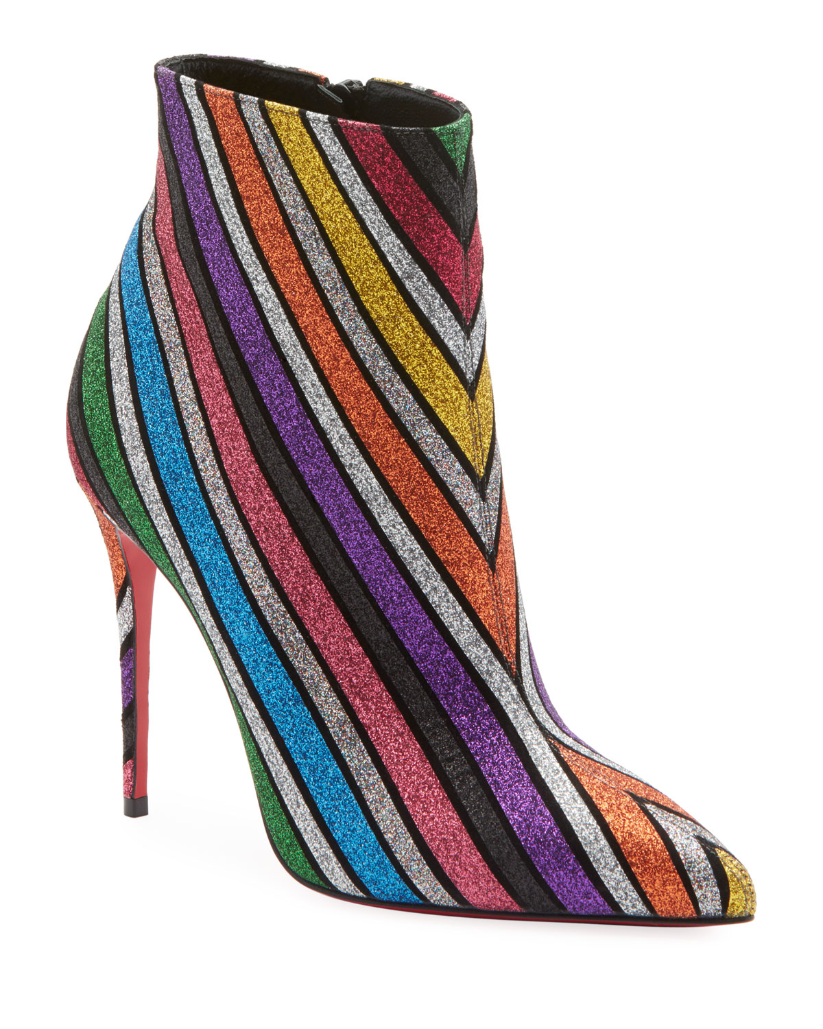 b8b5f4fe1042 Christian LouboutinSo Kate 100 Stripey Glitter Suede Red Sole Booties
