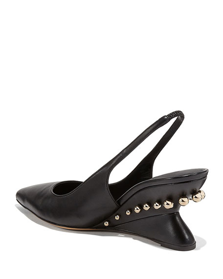 Salvatore Ferragamo Bienno Studded Wedge Pumps