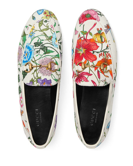 Gucci Floral Canvas Flat Loafers