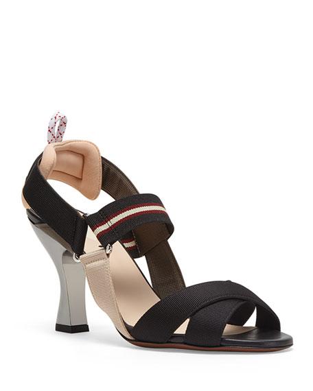 Fendi Colibri Strappy Canvas Sandals