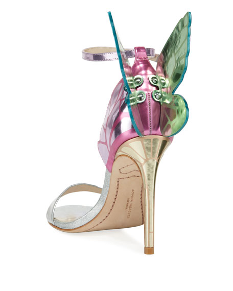 Sophia Webster Chiara Butterfly Wing Multi Metallic Leather Sandals