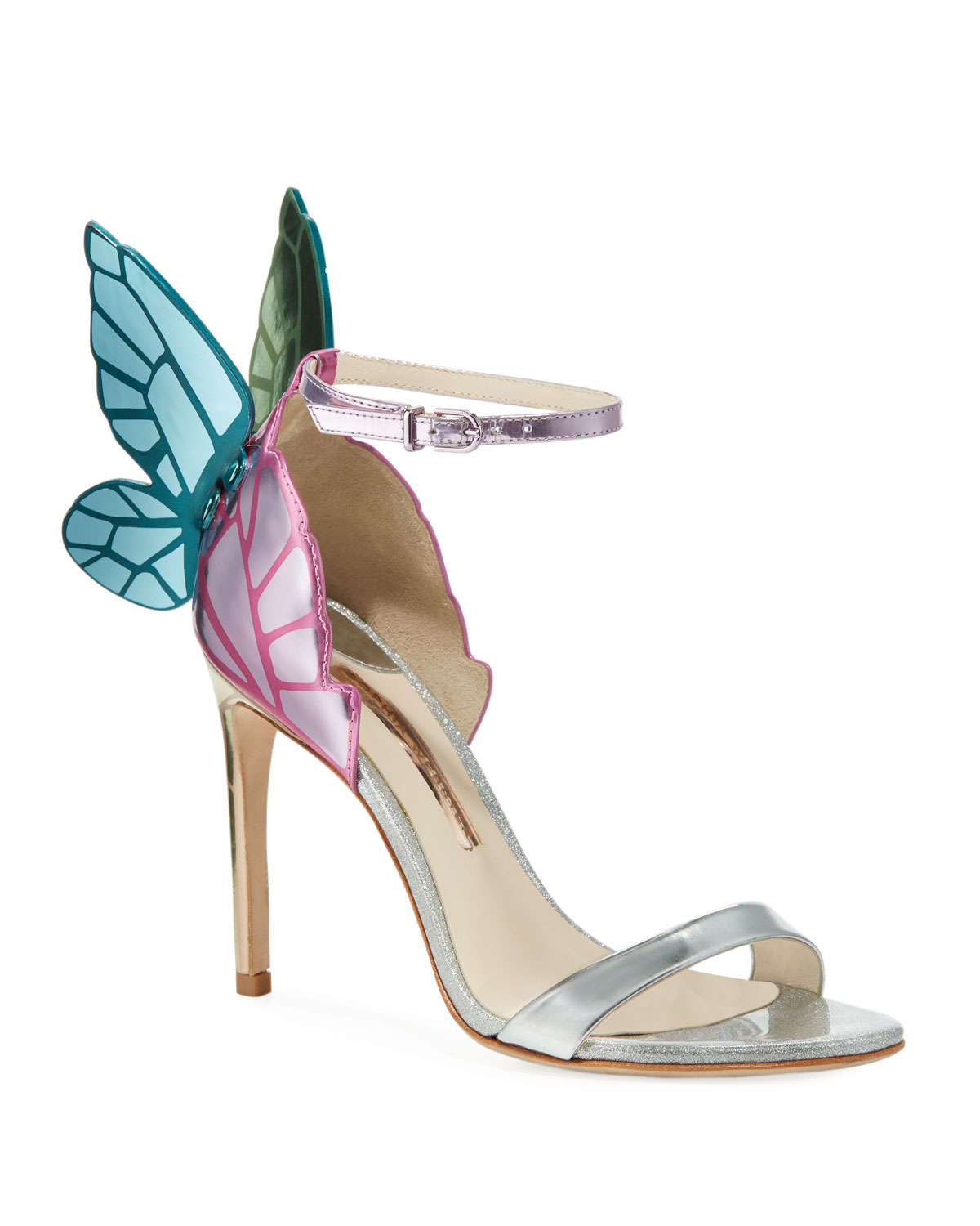 d5d93a88316 Chiara Butterfly Wing Multi Metallic Leather Sandals