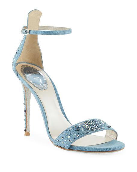 Rene Caovilla Embellished Denim Strappy Sandals